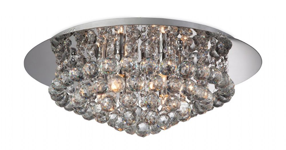 Firstlight 8314CH Chrome with Crystal Liberty 6 Light Flush Fitting